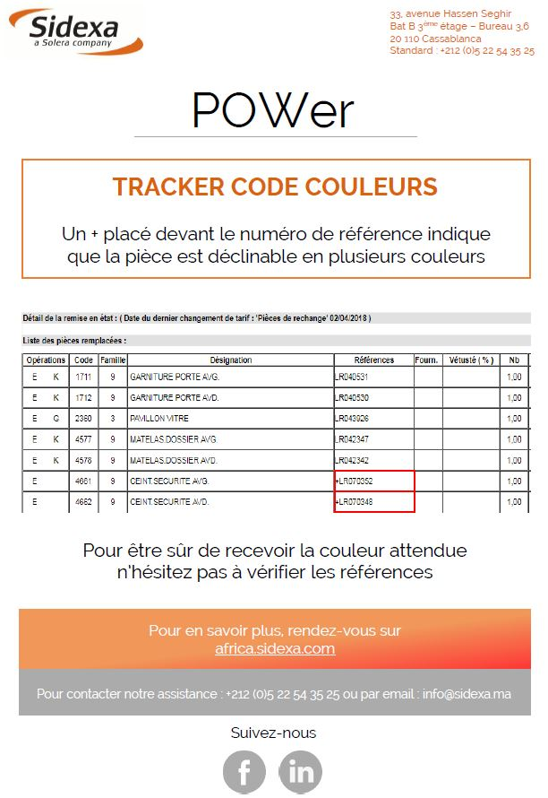 tracker code couleurs